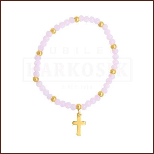 Różowa Bransoletka z Krzyżykiem