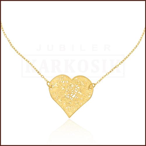 Złoty Naszyjnik Celebrytka Ażurowe Serce pr.585