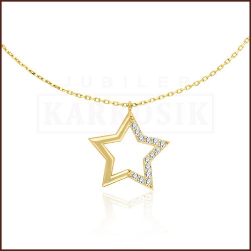 Złoty Naszyjnik Celebrytka  z Cyrkoniami - Gwiazdka pr.585