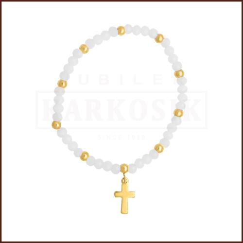 Biała Bransoletka z Krzyżykiem