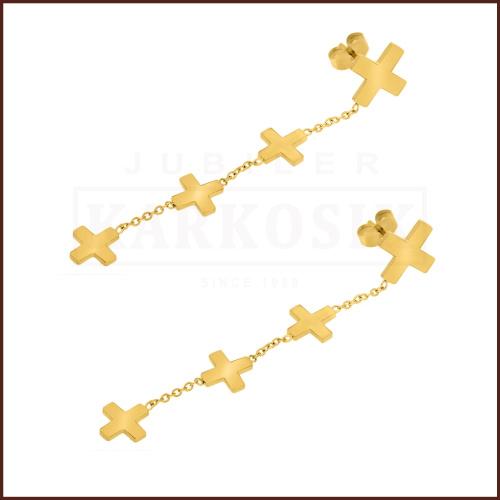 Pozłacane kolczyki - Wiszące Krzyżyki