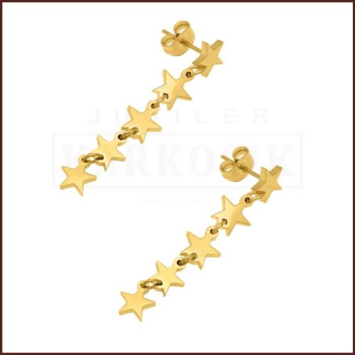 Pozłacane kolczyki - Wiszące Gwiazdki