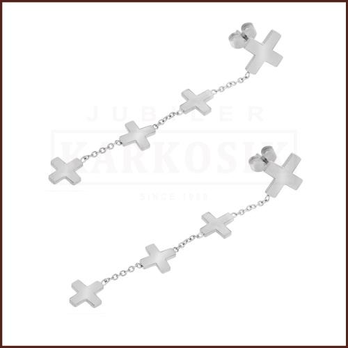 Srebrne Kolczyki - Wiszące Krzyżyki