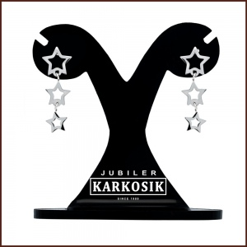 Srebrne Kolczyki - Wiszące Gwiazdki