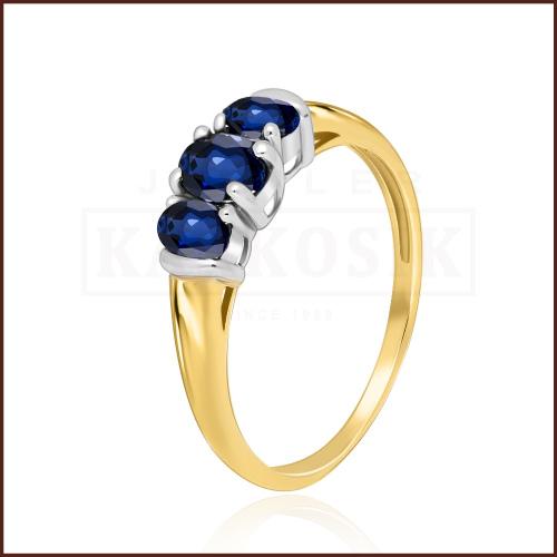 Pierścionek zaręczynowy 585 złoto z szafirem