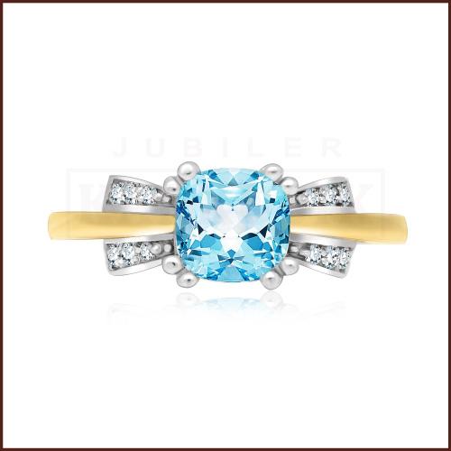 Pierścionek zaręczynowy 585 złoto z topazem