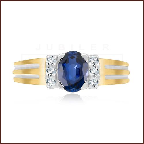 Pierścionek zaręczynowy 585 złoto z szafirem i brylantami