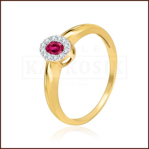 Pierścionek zaręczynowy 585 złoto z rubinem i brylantami