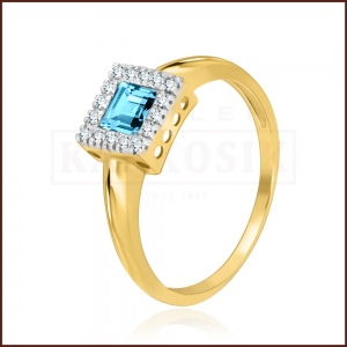 Pierścionek zaręczynowy 585 złoto z topazem i brylantami