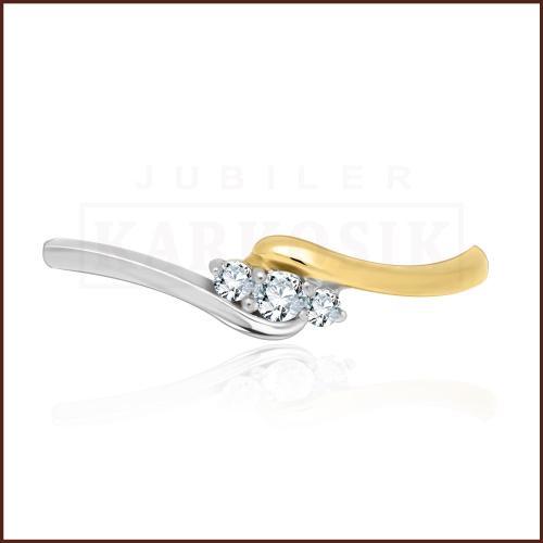 Pierścionek zaręczynowy 585 złoto z brylantami 0,08ct