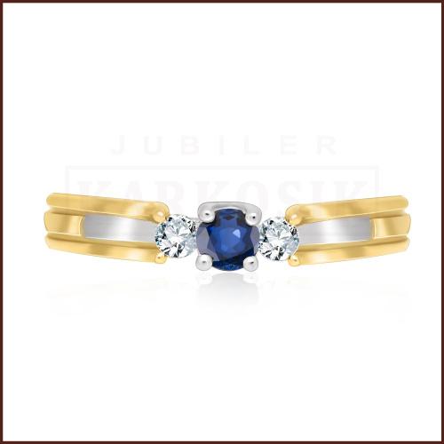 Pierścionek zaręczynowy 585 złoto z szafirem i brylantami - 15