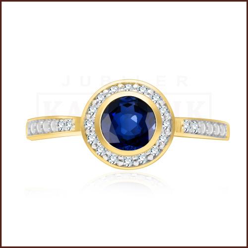 Pierścionek zaręczynowy 585 złoto z szafirem i brylantami - 13