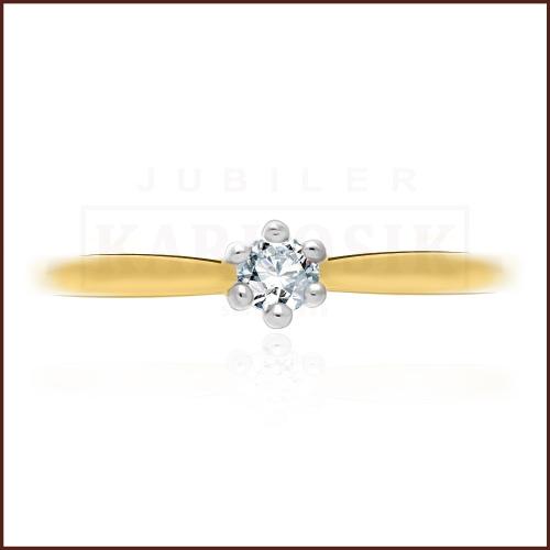 Pierścionek zaręczynowy 585 złoto z brylantem 0,090ct