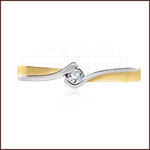 Pierścionek zaręczynowy 585 złoto z brylantem 0,035ct