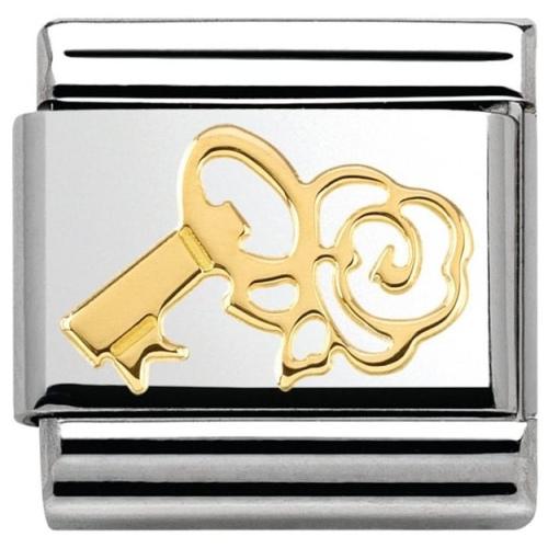 Nomination - Link 18K Gold 'Klucz z różą' 030162/15
