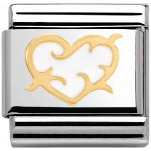 Nomination - Link 18K Gold White Tribal Heart 030253/43