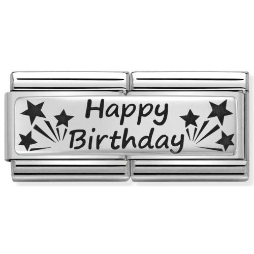 Nomination - Double Link 925 Silver 'Happy Birthday'  330710/13