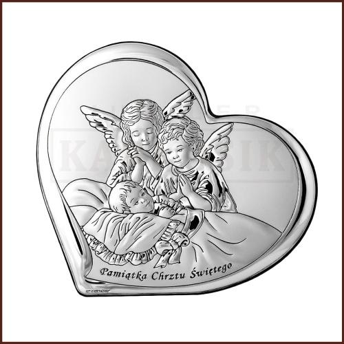 Srebrny Obrazek na Chrzest Św. - Aniołki nad Dzieciątkiem