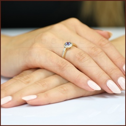 Pierścionek zaręczynowy 585 złoto z tanzanitem i brylantami - 16