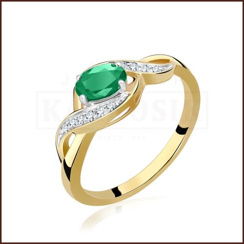 Pierścionek zaręczynowy 585 złoto z szmaragdem i brylantami - 16