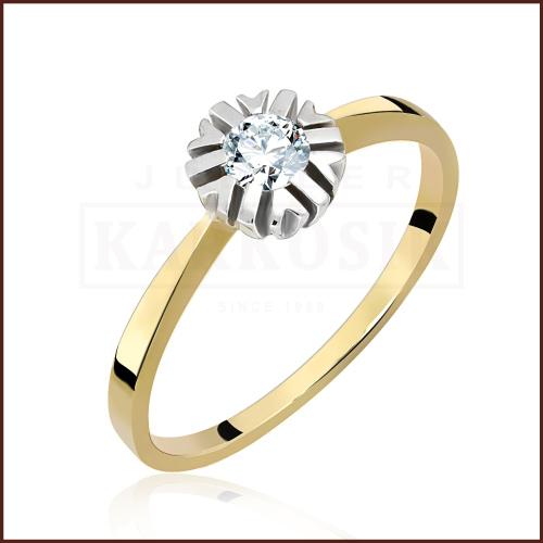 Pierścionek zaręczynowy 585 złoto z brylantem 0,20ct - 13