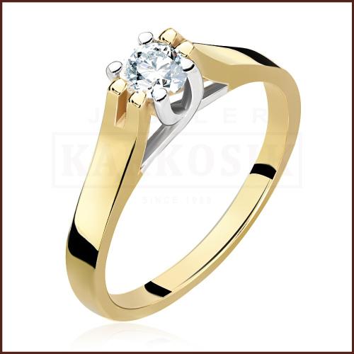 Pierścionek zaręczynowy 585 złoto z brylantem 0,26ct - 12