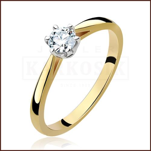 Pierścionek zaręczynowy 585 złoto z brylantem 0,30ct - 15