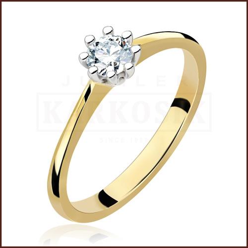 Pierścionek zaręczynowy 585 złoto z brylantem 0,26ct - 14