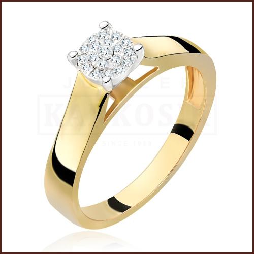 Pierścionek zaręczynowy 585 złoto z brylantem 0,08ct - 15