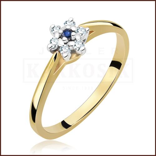 Pierścionek zaręczynowy 585 złoto z brylantem 0,09ct - 12
