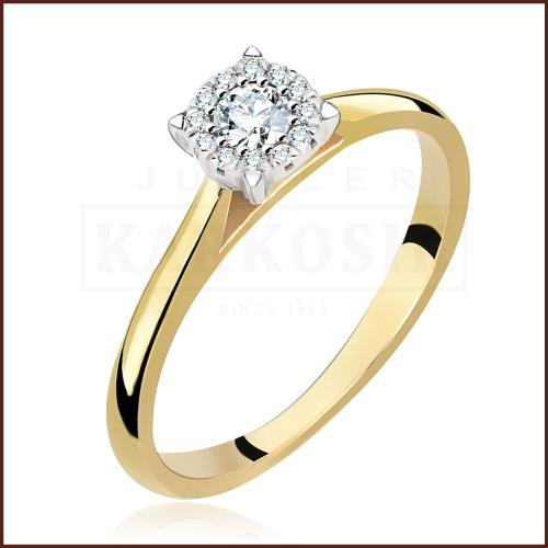 Pierścionek zaręczynowy 585 złoto z brylantami 0,15ct - 9