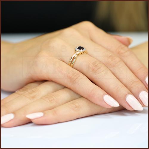 Pierścionek zaręczynowy 585 złoto z brylantem 0,07ct - 12