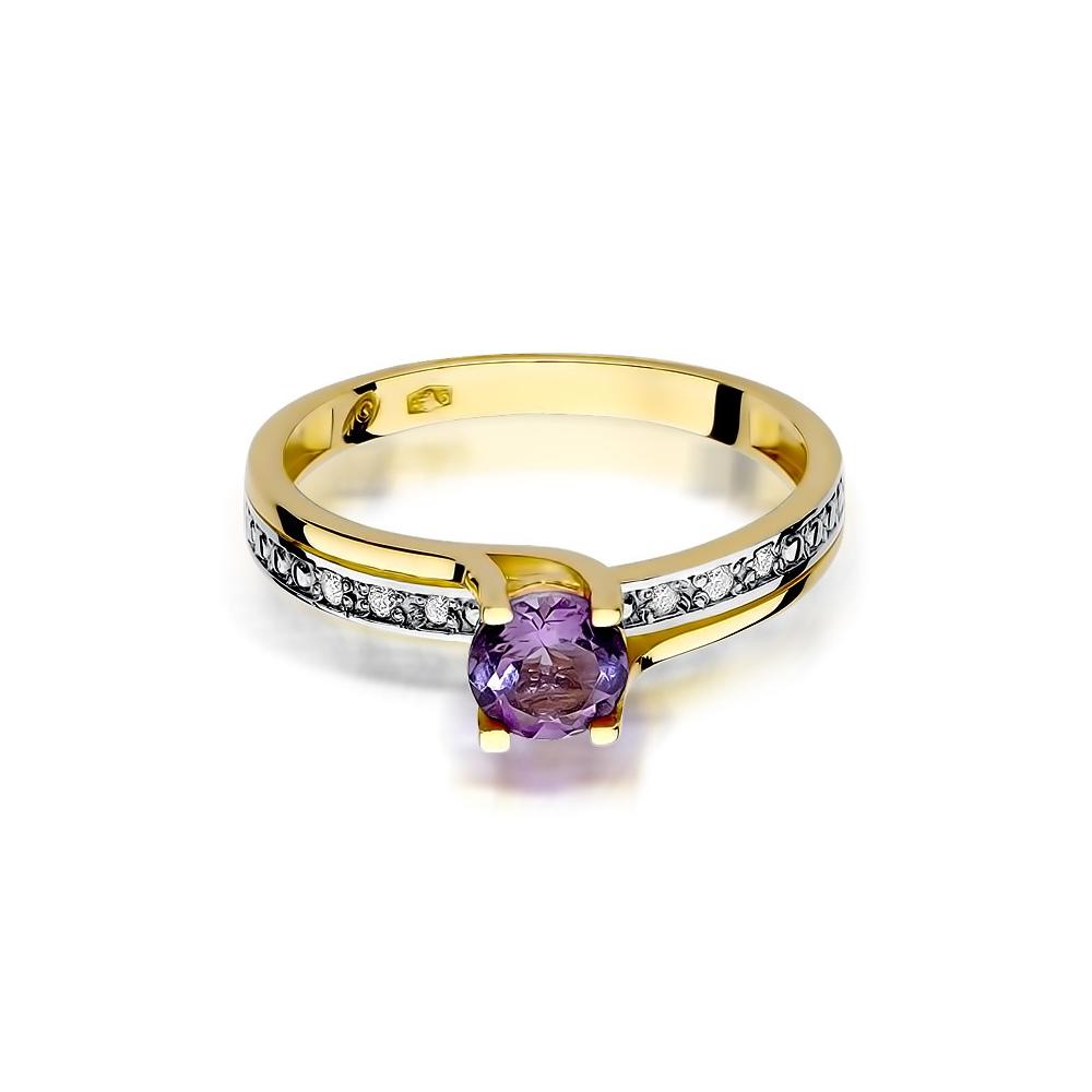 Pierścionek zaręczynowy 585 złoto z ametystem 0,50ct  i brylantami