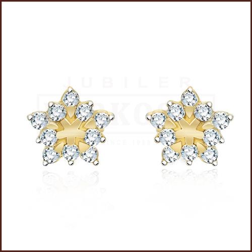 Złote kolczyki z Cyrkoniami - Śnieżki pr.585