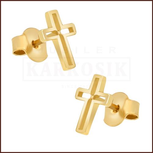 Złote kolczyki - Krzyżyki pr.585
