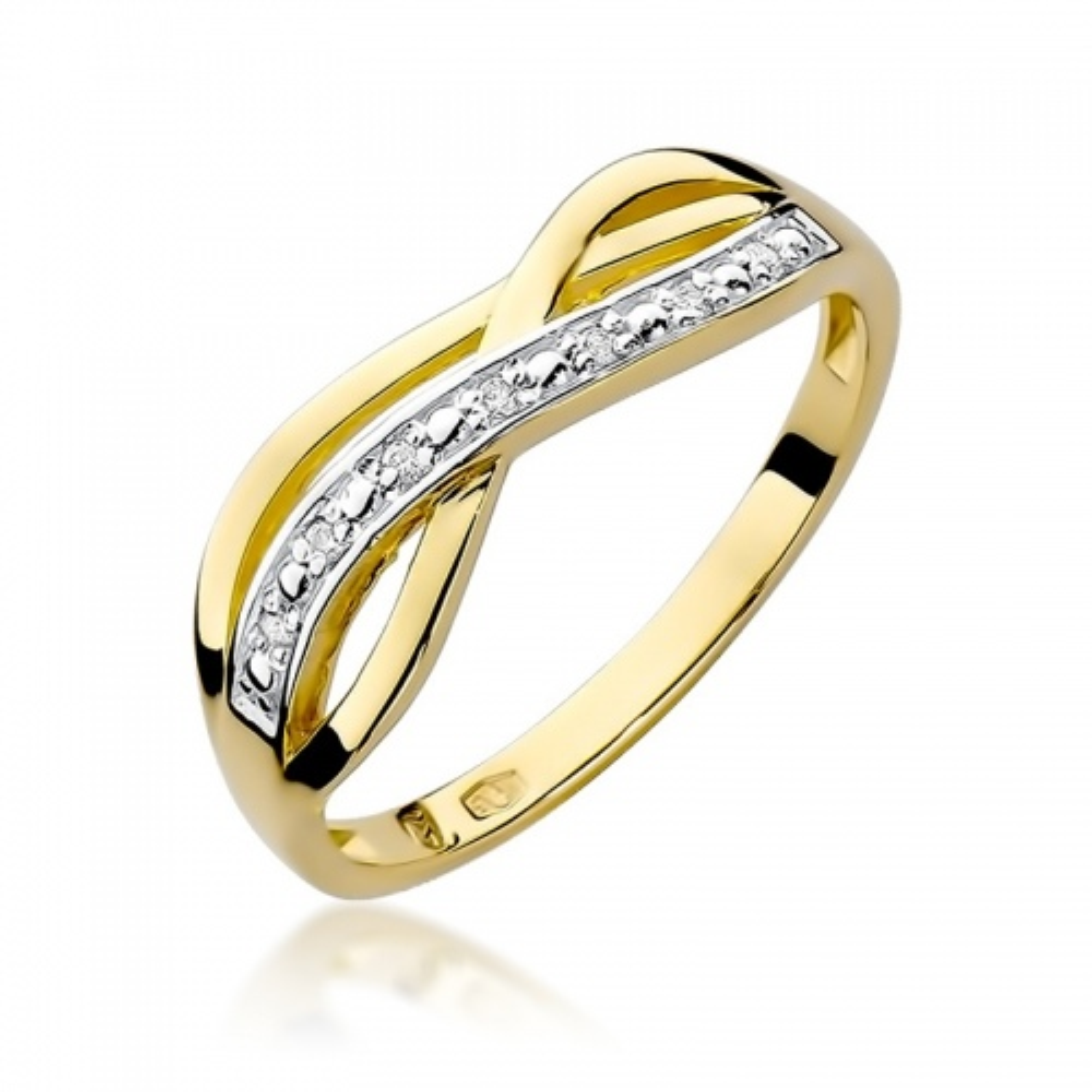 Pierścionek zaręczynowy 585 złoto z brylantami 0,06ct