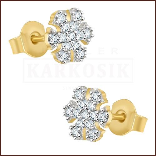 Złote kolczyki z cyrkoniami - Śnieżynki pr.333