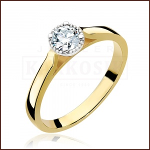 Pierścionek zaręczynowy 585 złoto z brylantem 0,30ct - 14