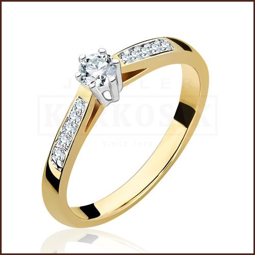 Pierścionek zaręczynowy 585 złoto z brylantami 0,25ct - 15