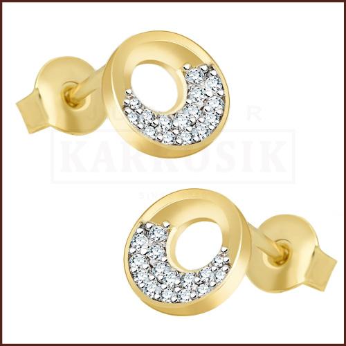 Złote kolczyki z cyrkoniami - Kółeczka pr.333
