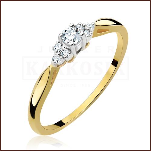 Pierścionek zaręczynowy 585 złoto z brylantami 0,15ct - 15