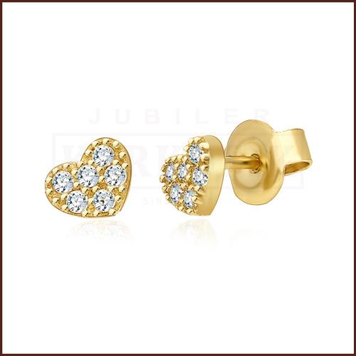 Złote kolczyki z cyrkoniami - Serduszka pr.333