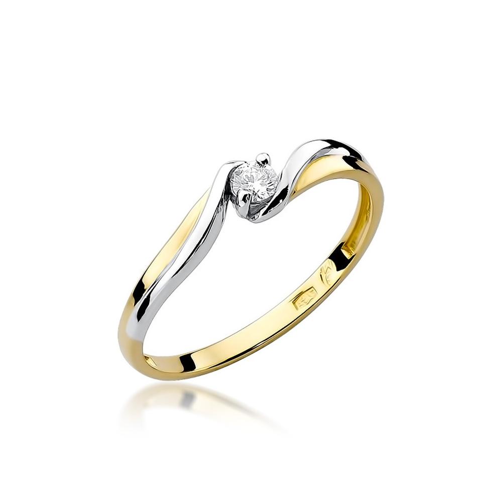 Pierścionek zaręczynowy 585 złoto z brylantem 0,08ct