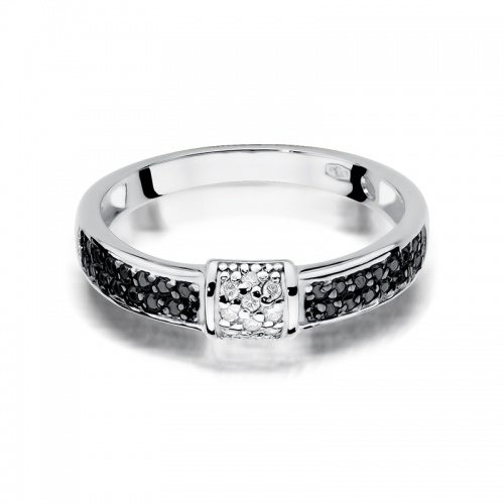 Pierścionek zaręczynowy 585 złoto z czarnymi i białymi brylantami 0,19ct