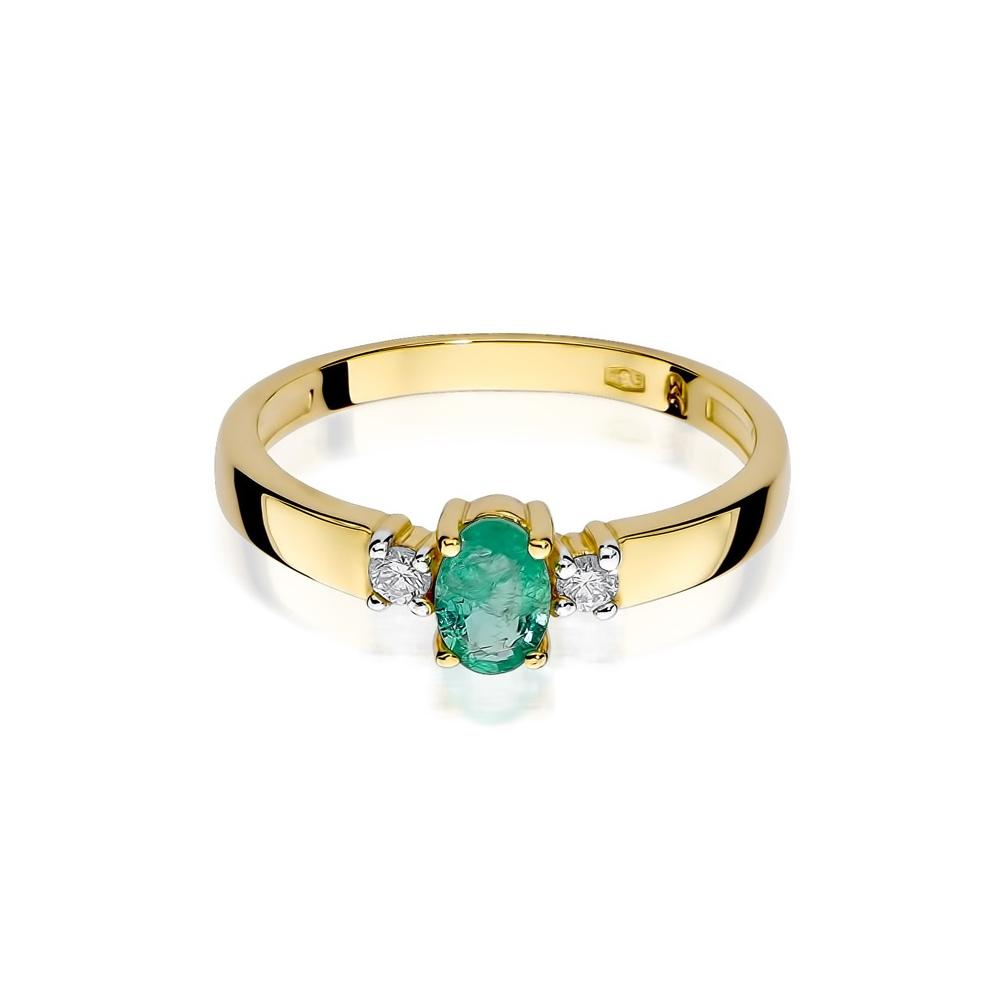 Pierścionek zaręczynowy 585 złoto z szmaragdem 0,40ct i brylantami