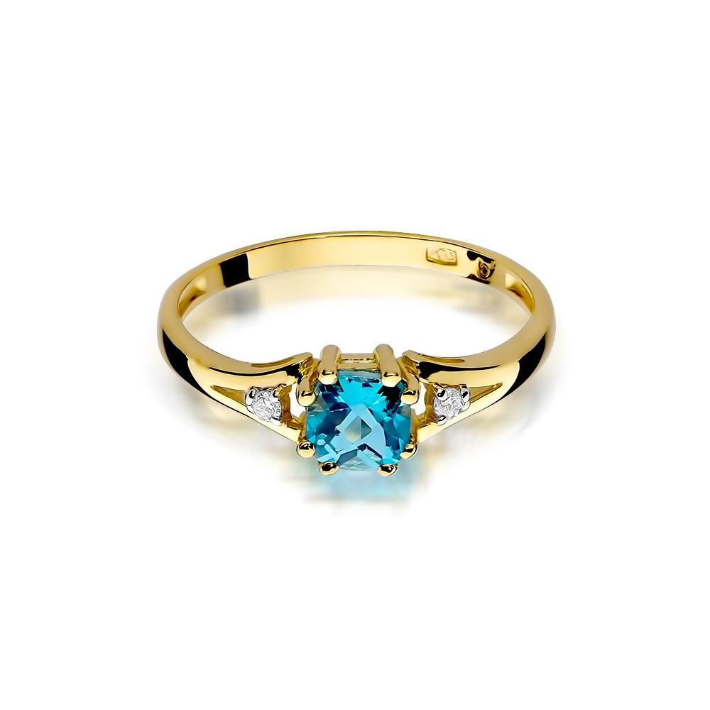 Pierścionek zaręczynowy 585 złoto z topazem 0,70ct  i brylantami