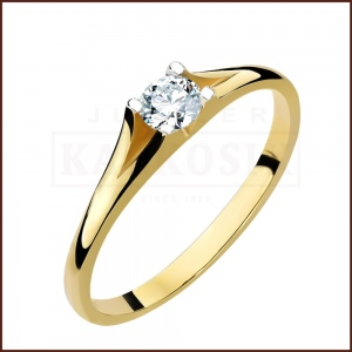 Pierścionek zaręczynowy 585 złoto z brylantem 0,26ct - 17
