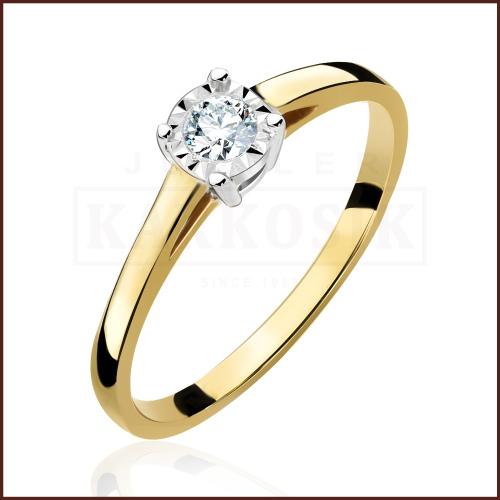 Pierścionek zaręczynowy 585 złoto z brylantem 0,15ct - 18