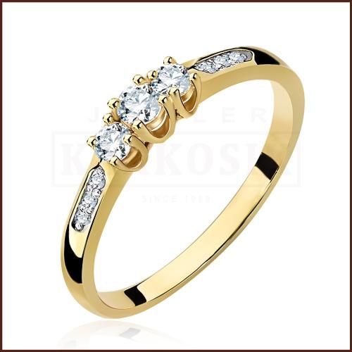 Pierścionek zaręczynowy 585 złoto z brylantami 0,33ct - 17