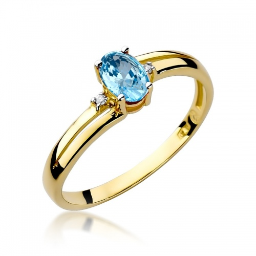 Pierścionek zaręczynowy 585 złoto z topazem 0,50ct i brylantami